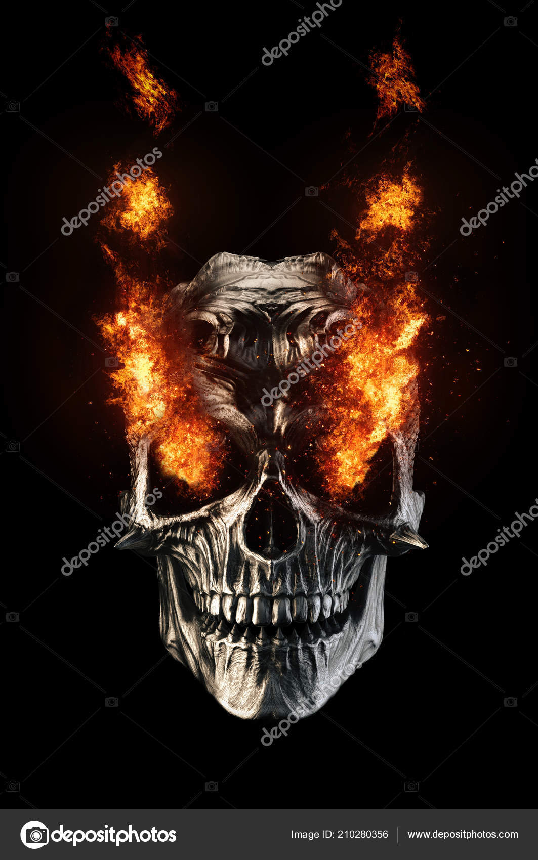 black metal demon skull eyes fire stock photo trimitrius 210280356