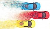 Photo Red, blue and yellow sports cars racing - top down view