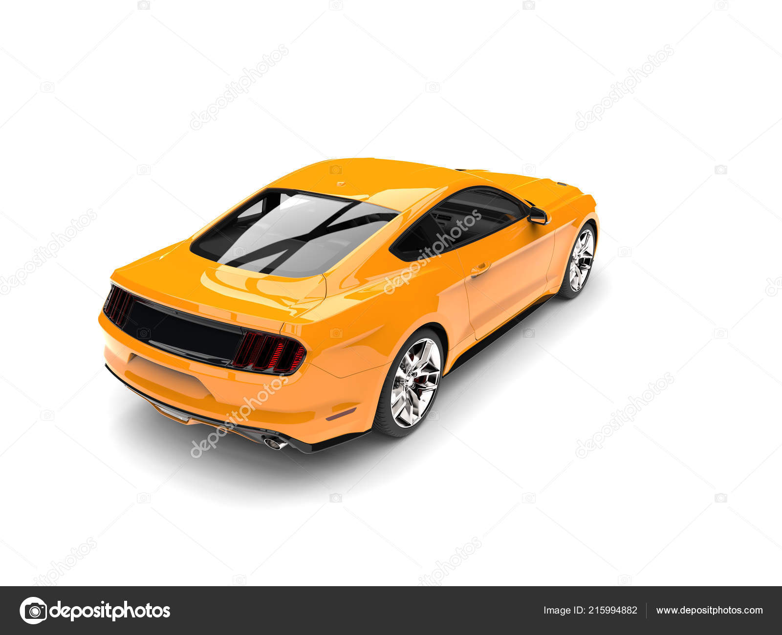 Warm Orange Modern Sports Muscle Car Top Rear View Stock Photo