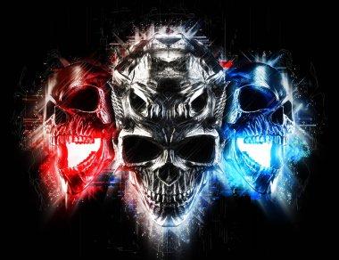 Screaming demon skulls - abstract glow style - 3D Illustration