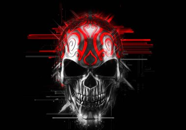 Black demon skull with red ornaments