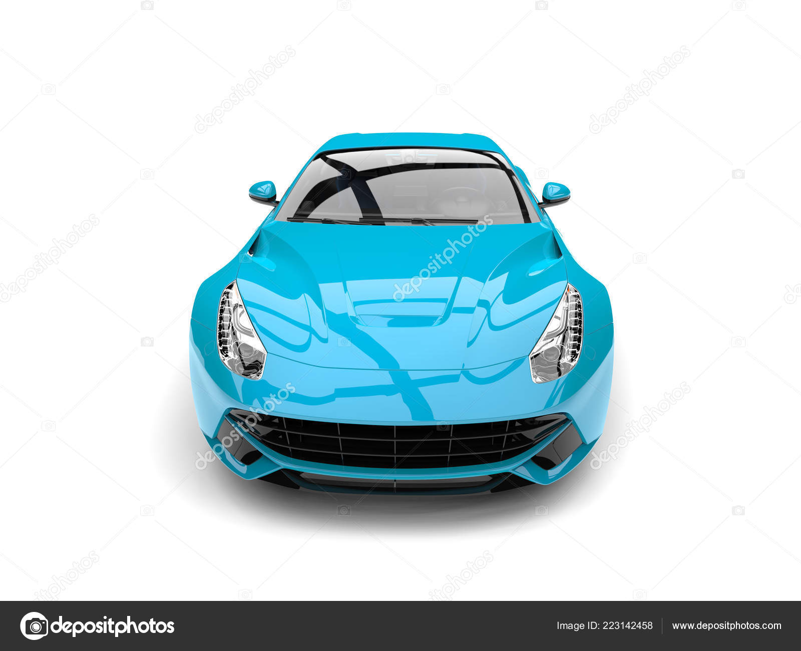 Modern Pastel Blue Fast Concept Car Front View Closeup Shot Stock Editorial Photo C Trimitrius 223142458