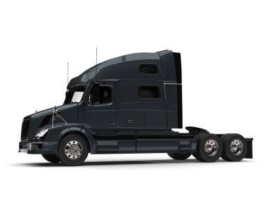 Dark slate gray modern semi trailer truck - side view