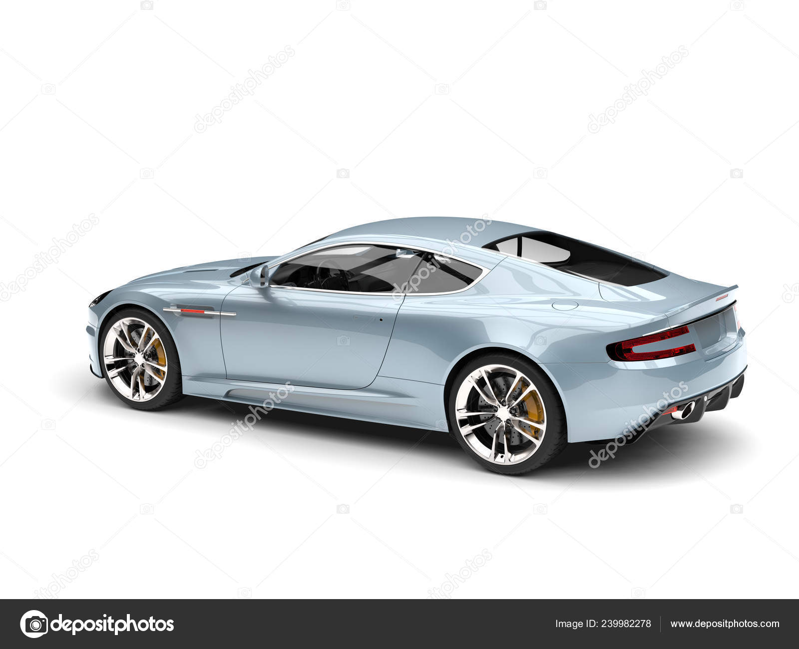 Metallic Pastel Blue Modern Sports Luxury Car Tail View Stock Photo C Trimitrius 239982278