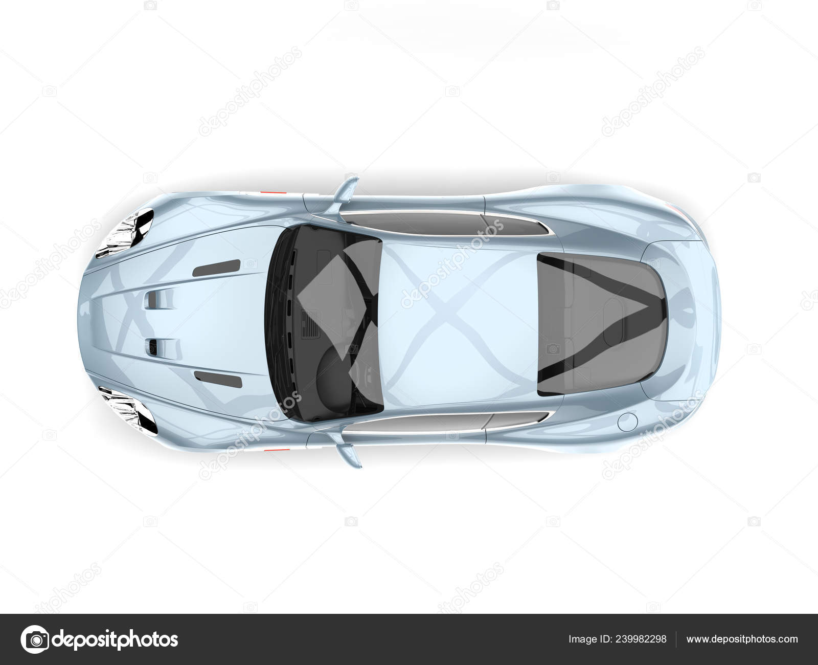 Metallic Pastel Blue Modern Sports Luxury Car Top View Stock Photo C Trimitrius 239982298