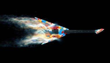 Colorful heavy metal guitar - smoke trails