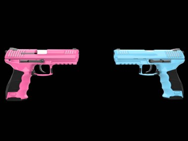 Pink and blue semi auto handguns - face to face stock vector