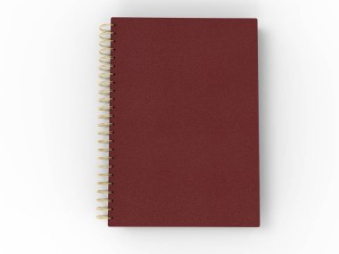 Red leather notebook - spiral binding - top down view stock vector