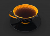 Fotografie Cup of tea - black cup with yellow inside and details