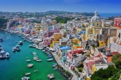 Architecture of Procida Island, a comune of the Metropolitan City of Naples, Campania, Italy.