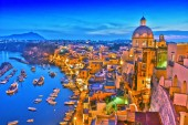 Photo Panoramic view of Procida Island, a comune of the Metropolitan City of Naples, Campania, Italy.