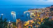 Fotografie Blick auf die Stadt Monaco an der Côte d  Azur nach Sonnenuntergang