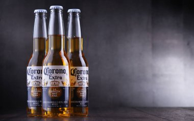 POZNAN, POL - JAN 24, 2019: Bottles of Corona Extra, one of the top-selling beers worldwide, a pale lager produced by Cerveceria Modelo in Mexico