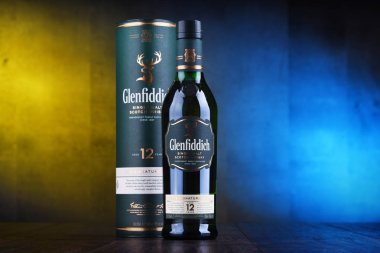 POZNAN, POL - JAN 24, 2019: Bottle of Glenfiddich, the world's best-selling single-malt whisky, owned and produced by William Grant and Sons in Dufftown, Scotland