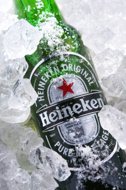 POZNAN, POL - MAY 22, 2020: Bottle of Heineken Lager Beer, the flagship product of Heineken International which owns over 125 breweries in more than 70 countries stock vector