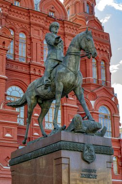 Moscow, Russia - September 13, 2018: Monument to the Soviet Red Army General Georgy Zhukov near the Red Square in Moscow, Russia.