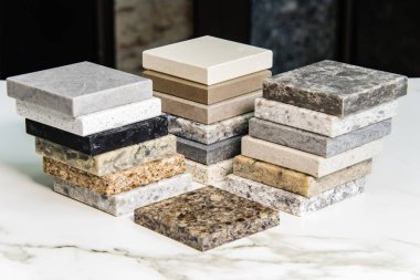 Kitchen counter tops color samples of granite, marble and quartz stone