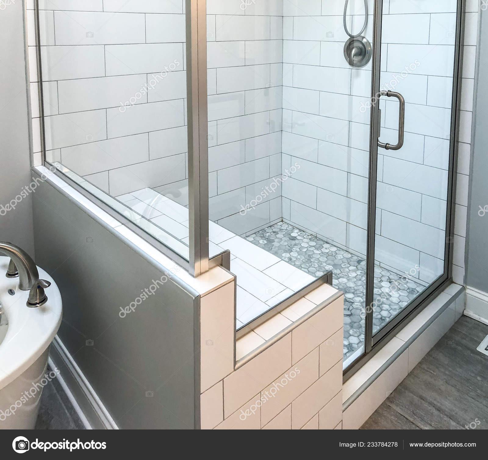 Bathroom Shower Base White Rectangular Wall Tiles Custom Shower Seat