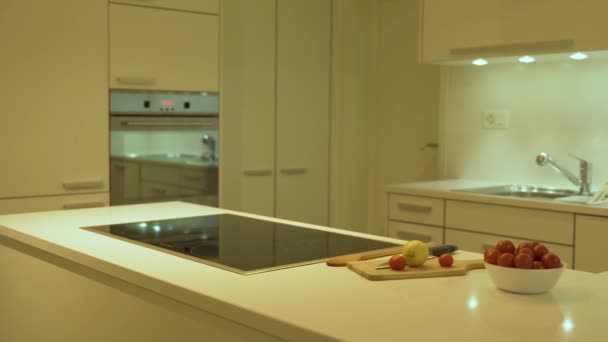 Perspektivní pohled na kuchyňské skříňky, kuchyňské dveře a zásuvky jsou vyrobeny z plochých dřevěných desek s bílou barvou. Jako kuchyňské uspořádání je dekorovaná křemene ozdobena deskami a potravinami.
