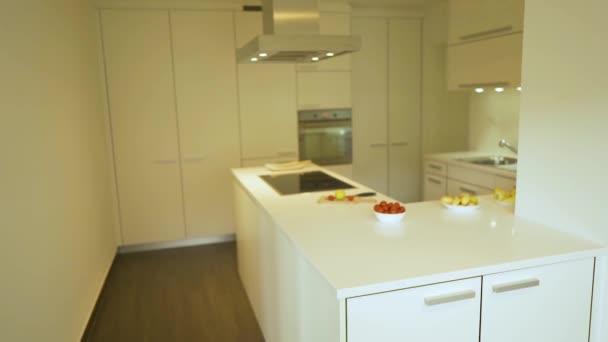 Moderní styl bílých kuchyňských skříní s plochými dvířky a zásuvkami, bílá kuchyňka, která je vyrobena z křemene a elektrické varné desky, dekorativních jídel a desek. Koncepce designu kuchyně.
