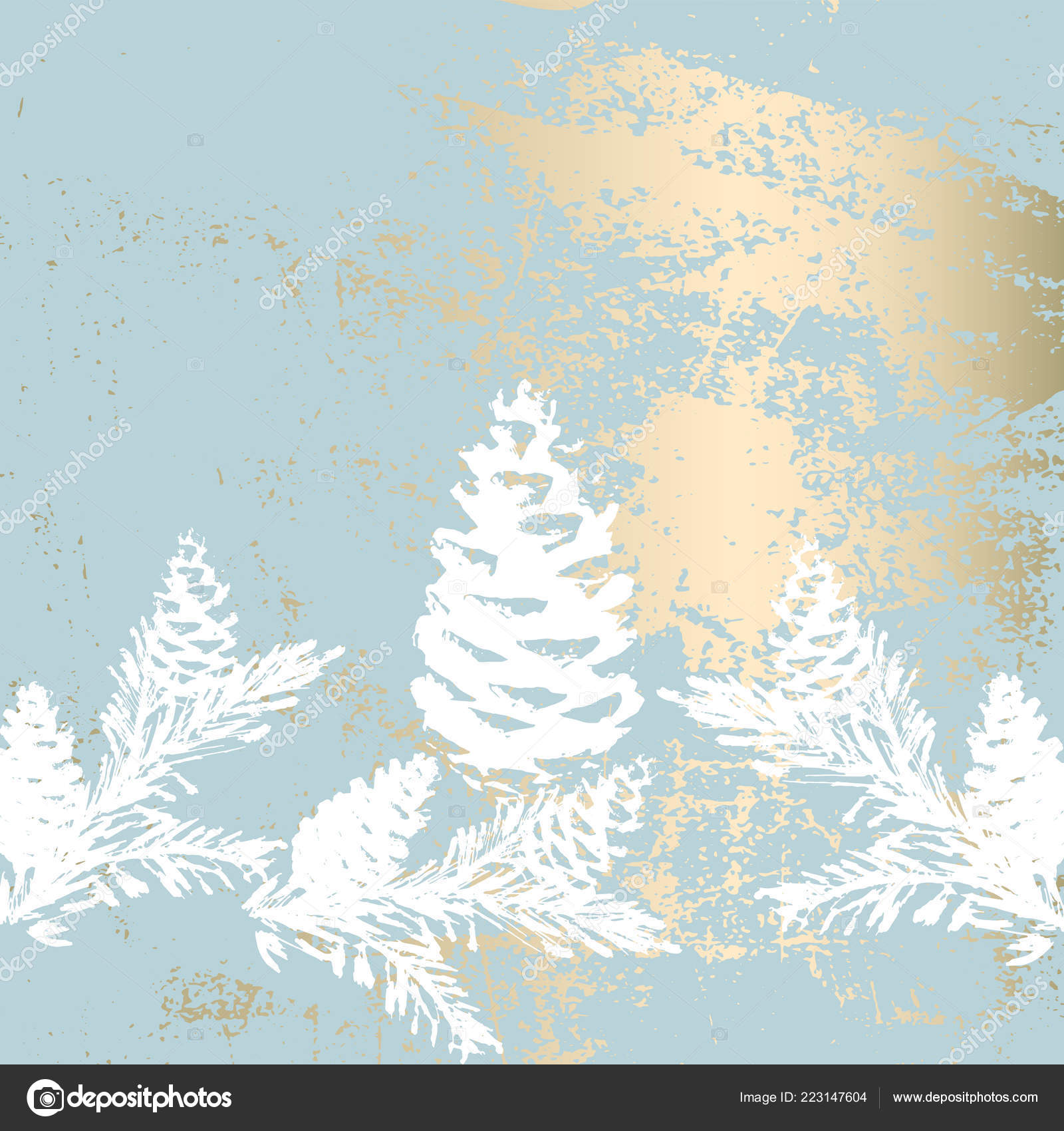 Trendy Chic Pastel Colored Background Gold Foil Shapes