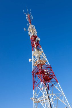 Communications tower with a beautiful blue sky on Puerto Real, Cadiz, Spain