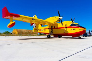 ALBACETE, SPAIN-JUN 23: Seaplane Canadair CL-215 taking part in a static exhibition on the open day of the airbase of Los Llanos on Jun 23, 2013, in Albacete, Spain