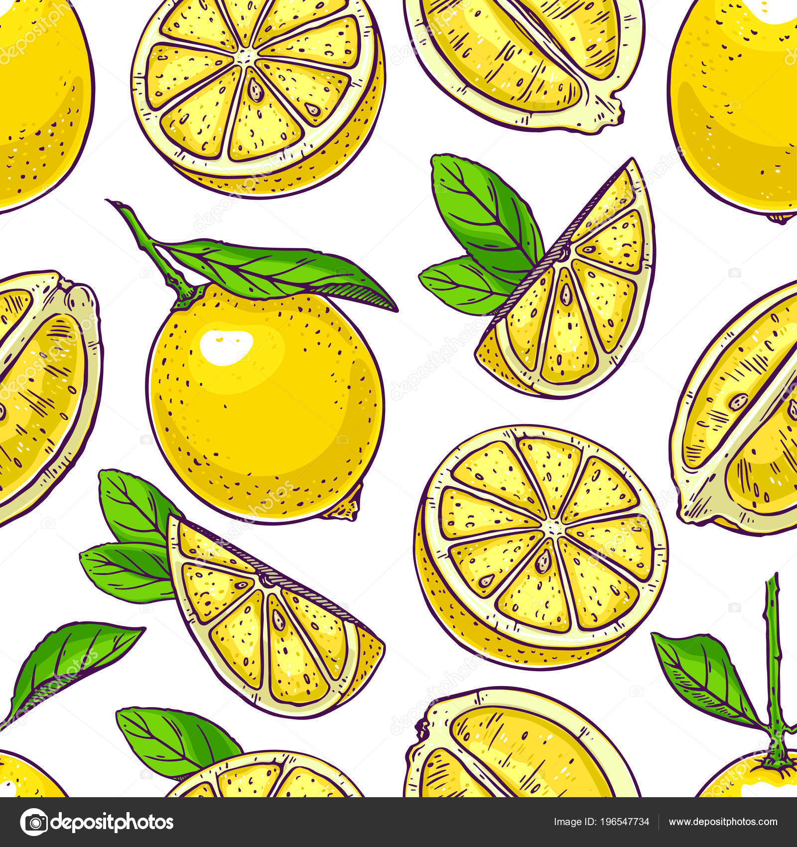 Seamless Background Cute Lemons Hand Drawn Illustration Stock