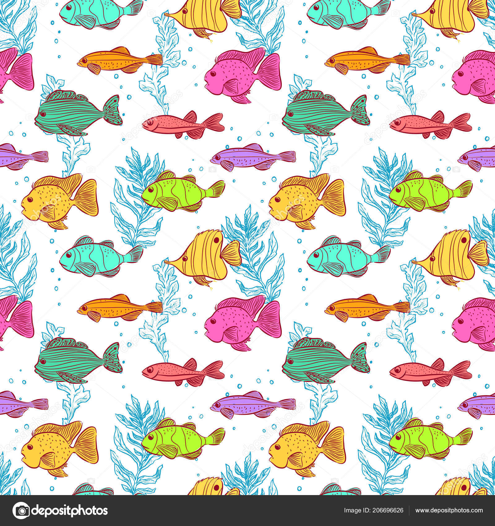 seamless background cute fishes seaweeds ストックベクター