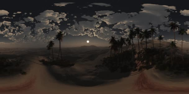 vr 360 panorama of palms in desert at night. made with the one 360 degree lense