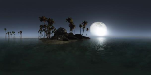 VR-360 panoráma trópusi szigeten strand, este