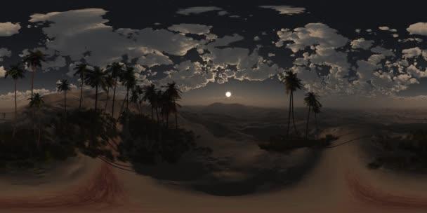 VR-360 panoráma pálmák a sivatagi éjszaka. készült egy 360 fokos lencse