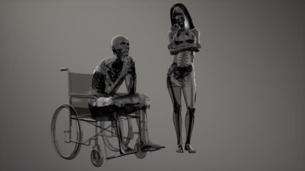 Mann im Rollstuhl mit sichtbaren Knochen