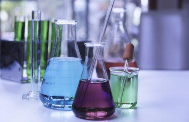 Glass laboratory chemical test tubes with liquid for analytical
