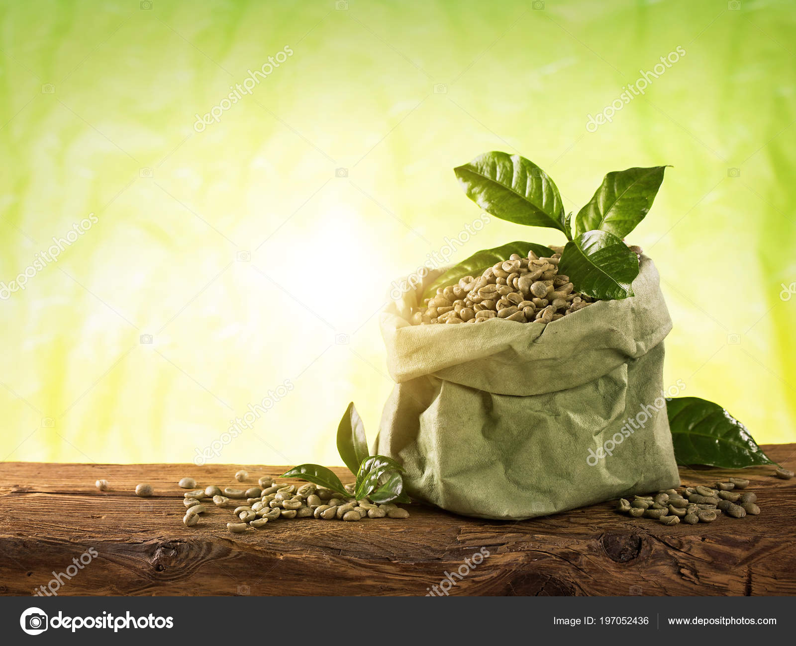 Green Coffee Beans Green Background — Stock Photo © egal ...