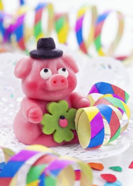 Marzipan pig on white background