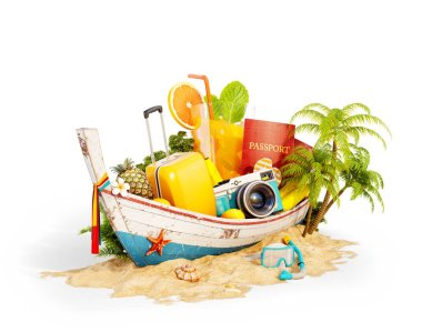 Beautiful Thai boat with suitcase, passport and camera inside on sand. Unusual 3d illustration. Travel and vacation concept. Isolated