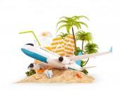 Aeroplano del passeggero e Palma tropicale su unisola paradisiaca. Insolito viaggio 3d illustrazione isolato su bianco. Concetto di corsa aria e vacanze estive