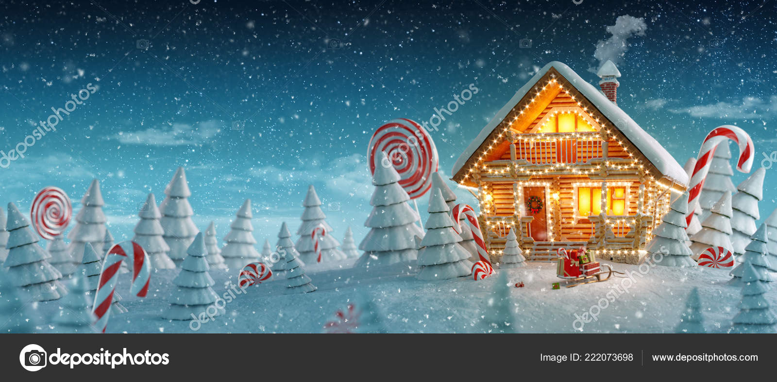 3d Weihnachtsbeleuchtung.Erstaunliche Blockhaus Dekoriert Der Weihnachtsbeleuchtung