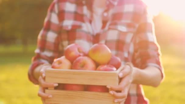 Mladá štíhlá žena v příležitostném oblečení má v rukou dřevěnou skříňku