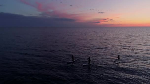 Aerial view three men rowing on SUP paddle boards in sea during amazing sunset