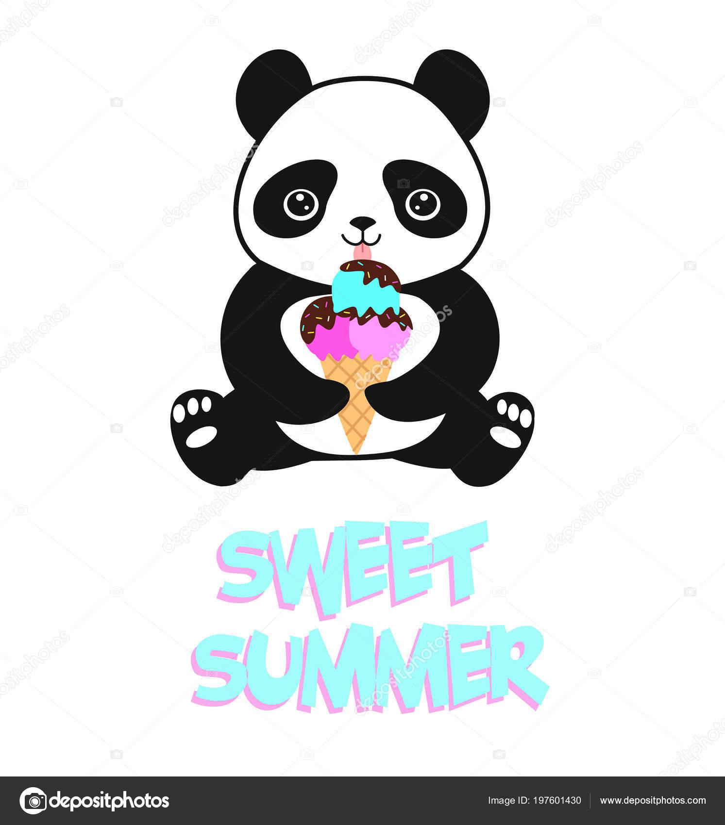 Dessin Anime Mignon Bebe Panda Avec Creme Glacee Illustration