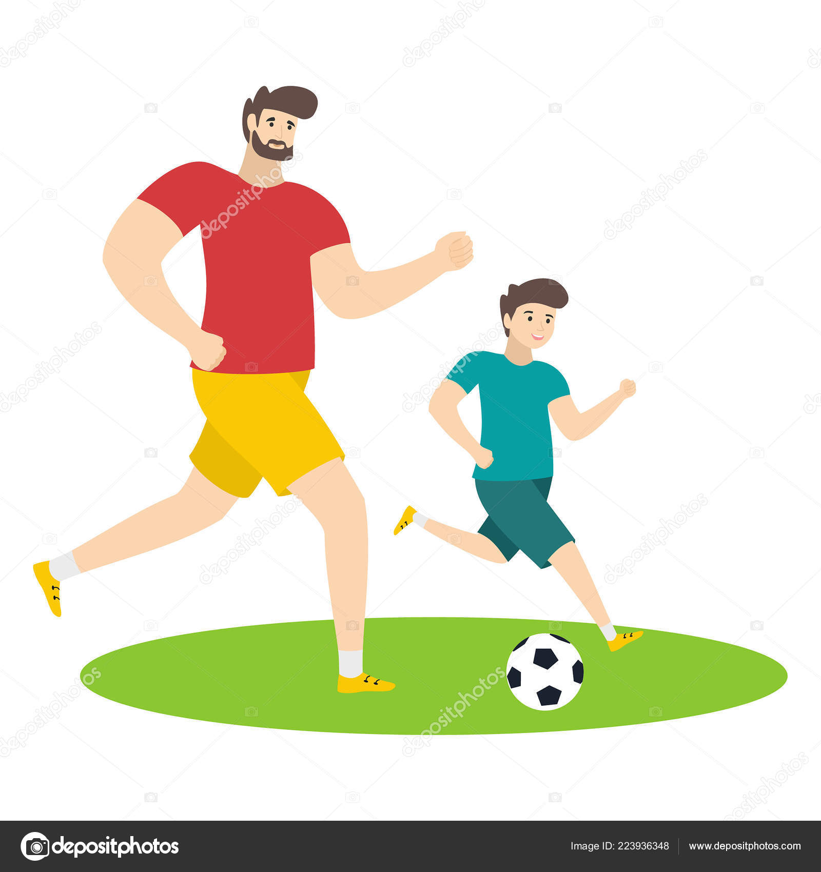 Vater Und Sohn Fussball Spielen Comic Figuren Isoliert Auf