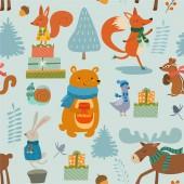 Wintermuster mit Zeichentrickfiguren Tiere. Vektor nahtlose Textur.