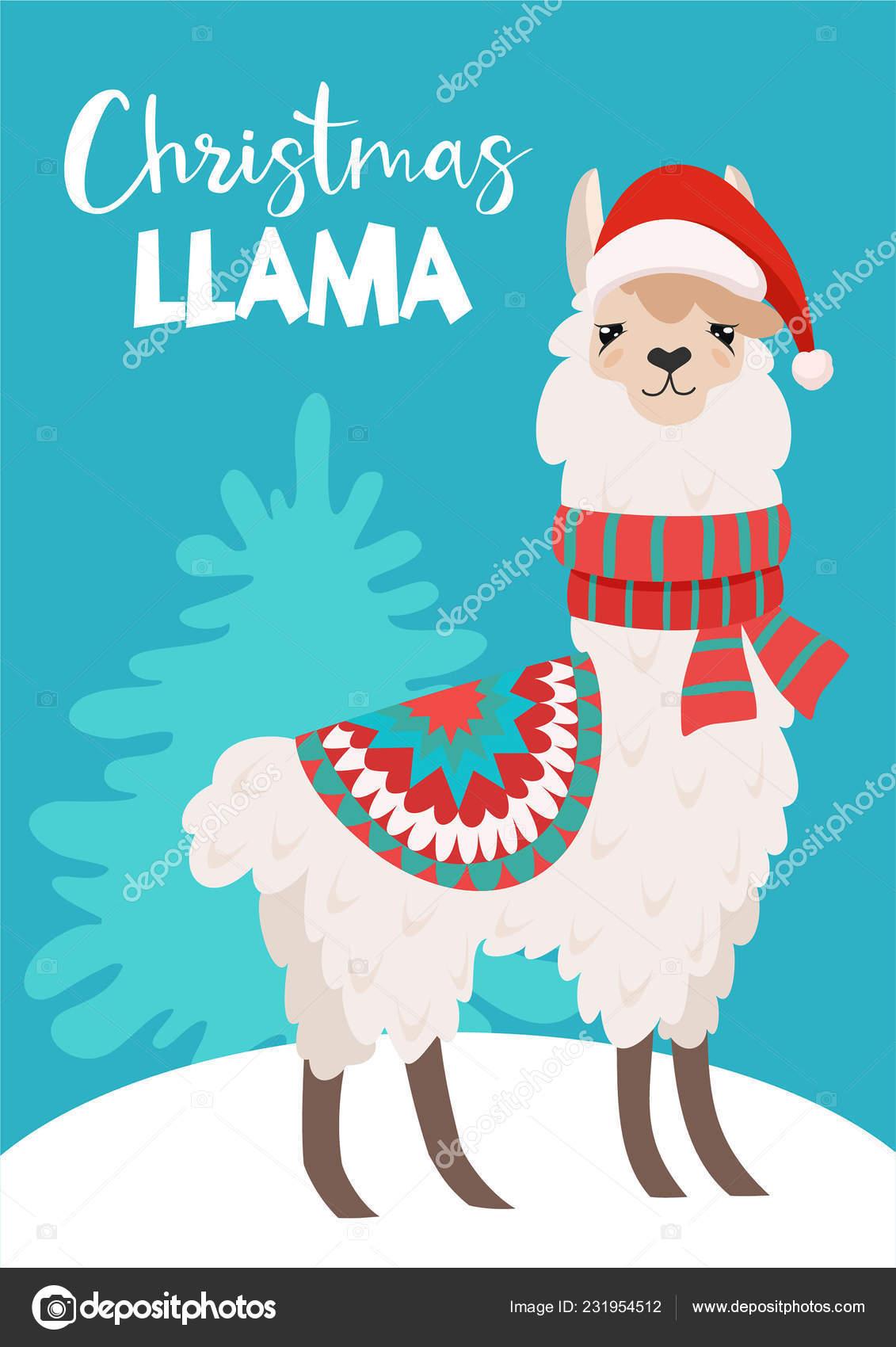 Christmas Llama.Funny Winter Card Cartoon Llama Vector Christmas