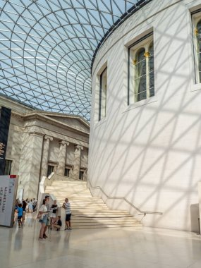London, England - August 5, 2018: The great court of the British museum in London. The British museum is a public institution dedicated to human history, art and culture.