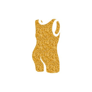 Triathlon suit icon in gold glitter texture. Sparkle luxury style vector illustration.
