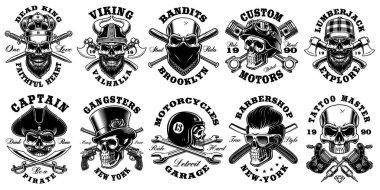 Set of vintage different skulls on white background.