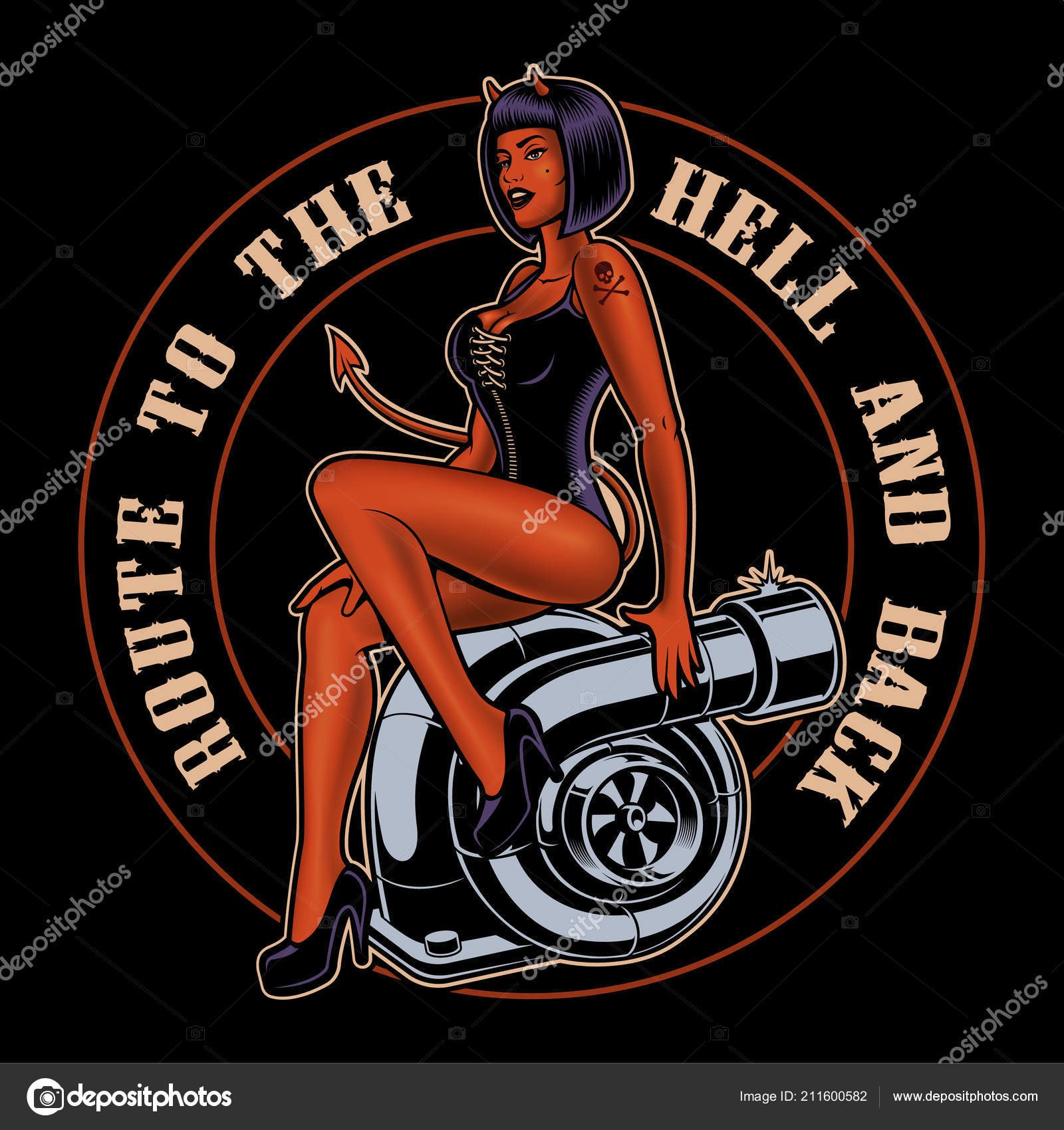 pin up girl devil on the turbocharger stock vector kasyanov