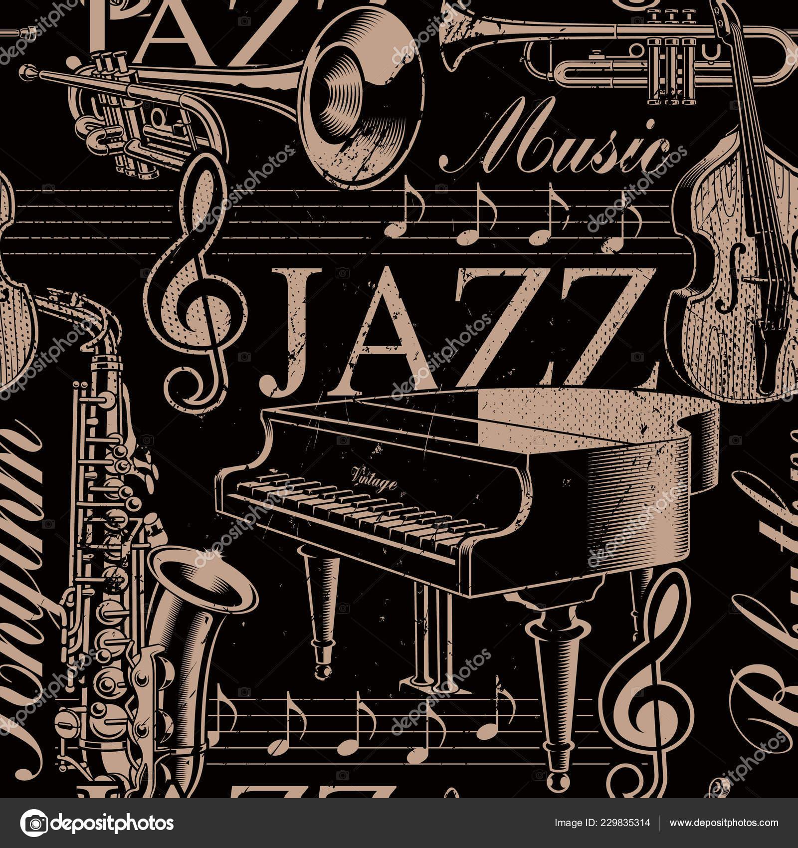Fondo Senza Cuciture Bianco E Nero Musica Del Tema Jazz Vettoriali
